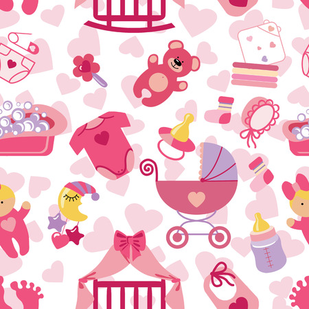 Newborn Baby girl seamless pattern Vector