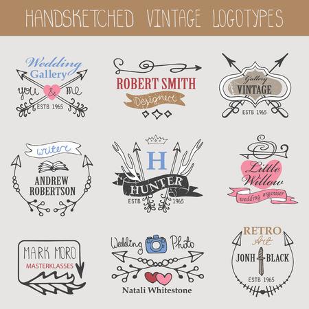 classic authors: Vintage logotype set.Doodle hand sketch