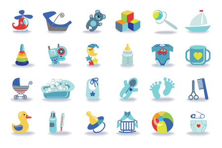 Cute Newborn flat icons set for Baby boy.Icons with long shadow.Baby shower  cartoon design elements.For web and mobile phone,print.New born baby infographic.Vector