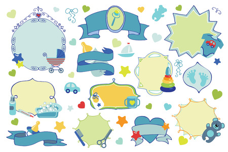 Colored Doodles labels,badges set For Newborn Baby boy  design templates,invitations,cards. Childrens hand drawing style.Baby shower  cartoon design elements.Vector Illustration