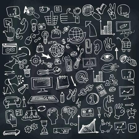 Doodle kant drow bedrijf seo schetsmatige pictogrammen op Chalckboard. Business concept. Vector illustratie Stock Illustratie