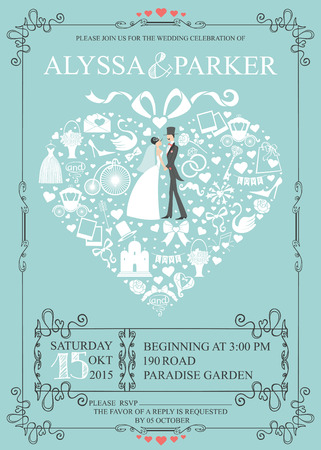 Cute Wedding invitation Design tamplate.Vintage.Composition in the shape of  heart with Bride,groom, wedding items,swirling frame. Retro vector 向量圖像
