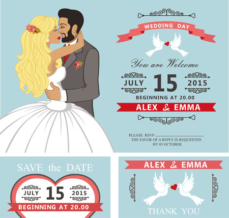 save the date: Wedding invitation with Cartoon kissing couple bride and groom.Swirling borders vignettes, ribbon, pigeons,chandelier.Design template set,thank you,save date card.Vintage Vector Illustration.