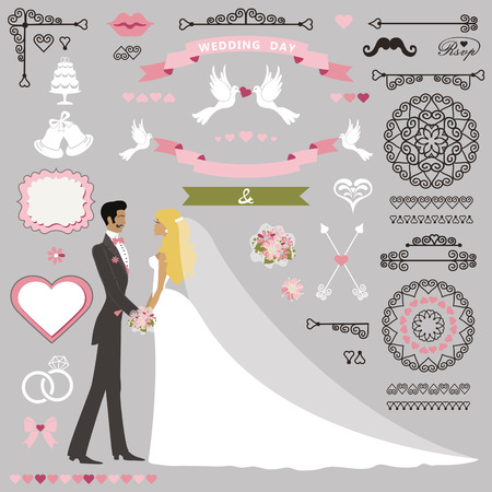 flat brushes: Wedding invitation card decor set.Cartoon kissing couple bride and groom.Swirling borders ,brushes, ribbon, wreath,icons,heart,label.Design template kit,save date card.Vintage Vector Illustration,flat.