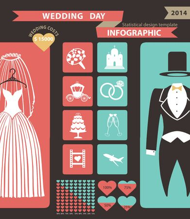 Wedding infographics set .Cartoon wedding clothes,icons set,chart,graph,world map.Vector business concepts with flat  icons,modern template
