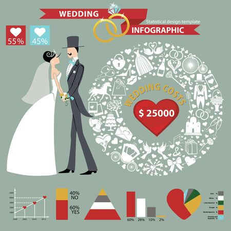 Wedding infographics set.Cartoon  Bride and groom with icons wreath,diagram.Flat Vector circle business concepts with flat  icons.Loop business report or plan ,modern template ,business brochure ,system diagram,web statistic Illustration