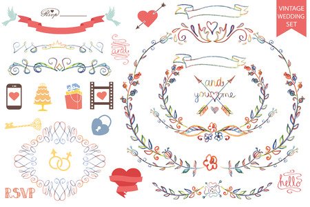 sketched icons: Plantilla de dise�o de la boda retro conjunto con la decoraci�n floral, cintas, iconos y la frontera remolinos. Garabatos acuarela, dibujo a mano l�piz esbozado. .Para Invitaci�n de la boda, card.Vintage vectorial
