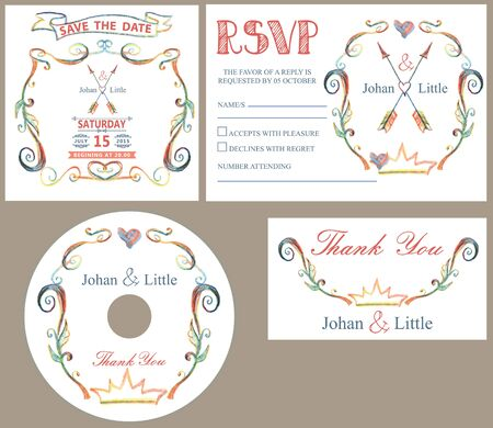 save the date: Wedding design template set with doodles deco.Retro style .Hand drawing style,watercolor,pencil sketch.For Wedding  invitation,thank you,save date,CD,RSVP card.Vector.