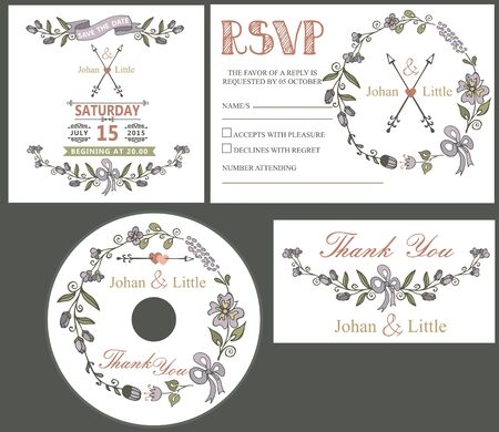 rsvp: Floral Wedding design template set with cartoon flowers wreath,ribbon,border in Retro style .For Wedding  invitation,thank you,save date,CD,RSVP card.Vintage vector.