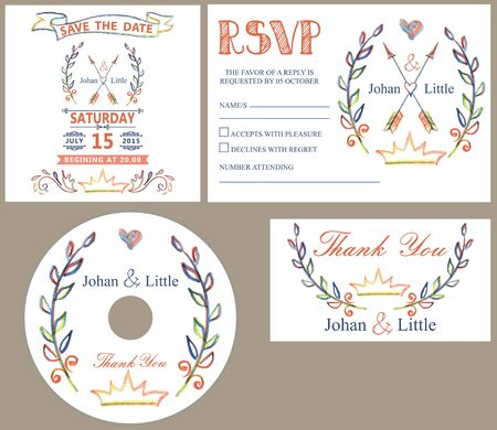 rsvp: Wedding design template set with doodles deco.Retro style .Hand drawing style,watercolor,pencil sketch.For Wedding  invitation,thank you,save date,CD,RSVP card.Vector.