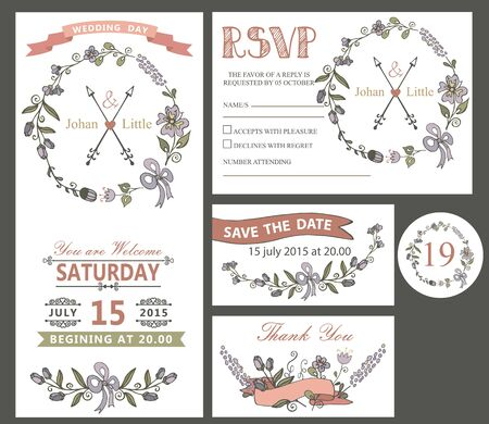 save the date: The wedding design template set with cartoon flowers wreath,ribbon,border in Retro style .For Wedding  invitation,thank you,save date,numbers,RSVP card.Vintage vector.