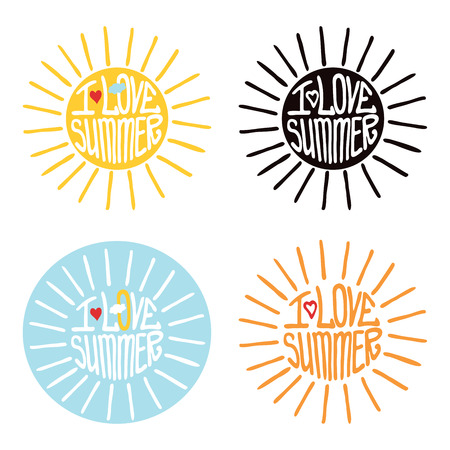 stiker: Typography  Design.Silhouette of sun  from words .The message I love summer.To use as a logo ,icon, label, stiker .Fun illustration in vector.