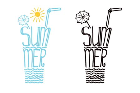 schematically: Typography  Design set.Silhouette of  glass of drink from words .The message Summer.To use as a logo ,icon, label, stiker,background .Fun illustration in vector.