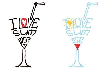 schematically: Typography  Design set.Silhouette of  glass of drink from words .The message I love Summer.To use as a logo ,icon, label, stiker,background .Fun illustration in vector.