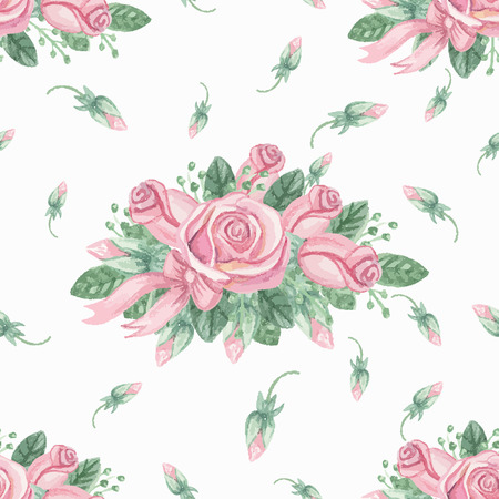 Watercolor pink roses group seamless pattern.Buds Vector