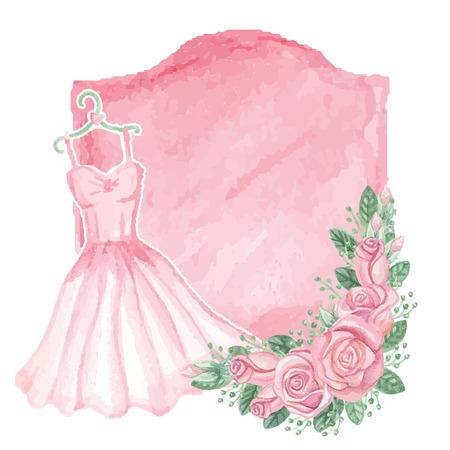 pink dress: Watercolor pink dress, roses decor,badge.Vintage card