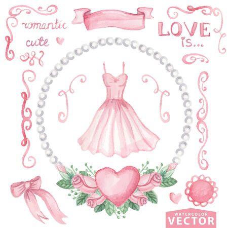 Aquarel vrijgezellenfeest set.Pink jurk, rozen, decor Stock Illustratie