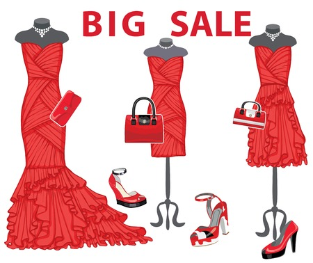 coctail: Three red coctail dresses with accessories.Big sale Illustration