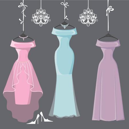bridesmaid: Three long bridesmaid dresses hang on ribbons Illustration