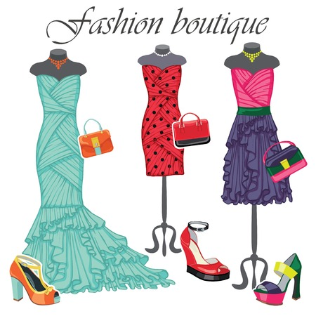 leather goods: Three colored dresses with accessories.Fashion illustration