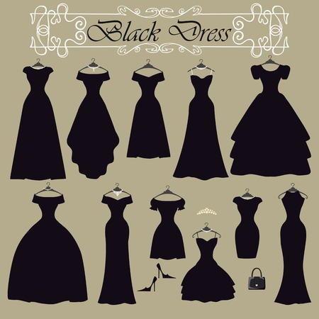 vintage dress: Silhouette of black party dress set.Flat design Illustration