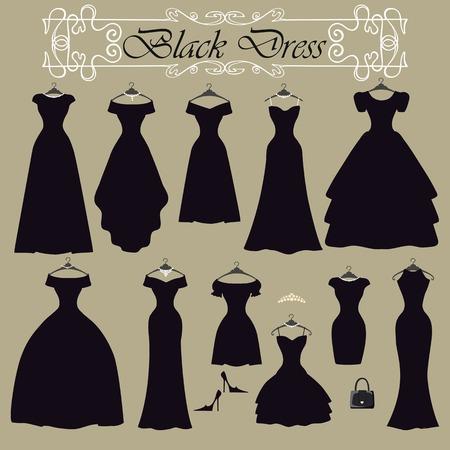 traje de gala: Silueta de dise�o de vestido de fiesta negro set.Flat Vectores