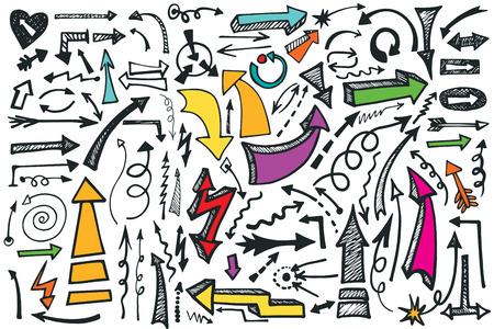 Hand draw Arrows set. Colored Doodle vector Vector