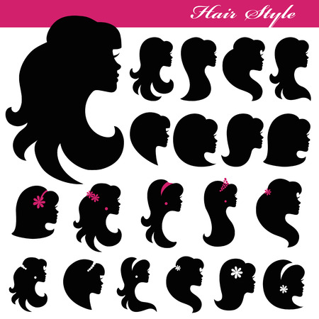 mujer sexy: Chica silueta de la cara set.Profiles style.Logo Cabello