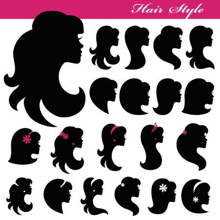 Girl face silhouette set.Profiles Hair style.Logo
