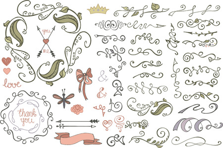 Doodles border,brushes,decor.Colored Floral sketched Vector