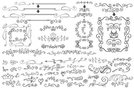 Doodle Floral  border,frame,decor element.Hand scetched Vector