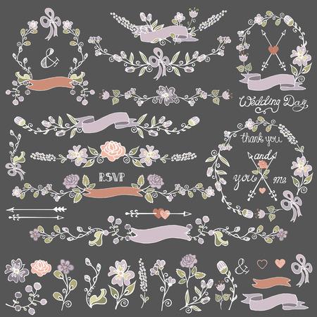 Colored Doodles floral decor set.Wreath,Borders,elements Vector