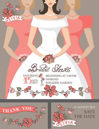 bridesmaids: Bridal shower invitation set.Bride,bridesmaids,cute floral decor