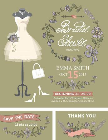 bridal dress: Bridal shower invitation set .Bridal dress,floral decor Illustration