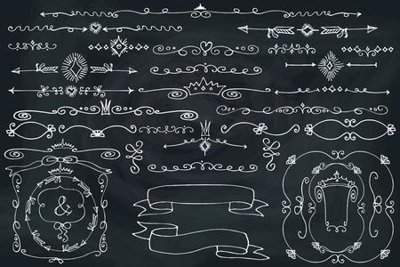 wedding heart: Doodle border,frame,ribbonst.Handscetched chalcboard.Love Illustration