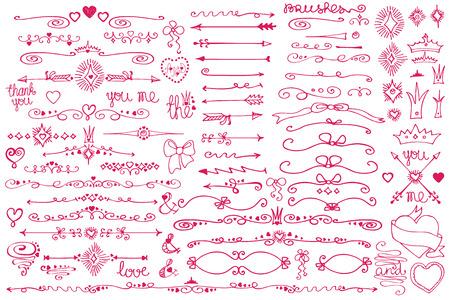 Doodle border,arrows,decor element,hearts.Love set