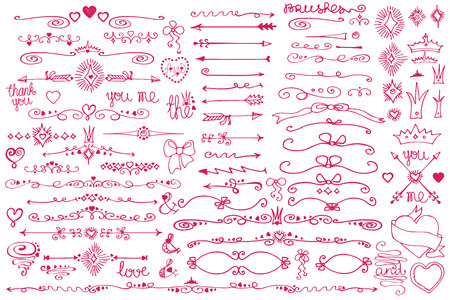 Doodle grens, pijlen, decor element, hearts.Love set