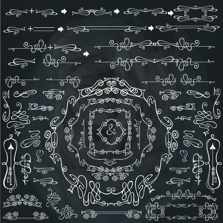 swirling: Curled calligraphic design elements,Swirling decor set.Chalkboar