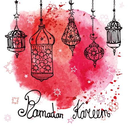 Traditional lantern of Ramadan Kareem .Doodle greeting card with Watercolor red splash.Muslim community.Hand drawing hanging arabic lamp, star and moon  background.Vector 向量圖像