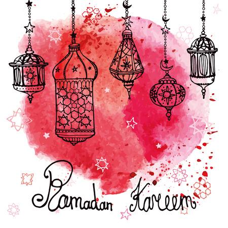 Traditionele lantaarn van de Ramadan Kareem .Doodle wenskaart met Aquarel rode splash.Muslim community.Hand tekening opknoping Arabische lamp, ster en maan background.Vector