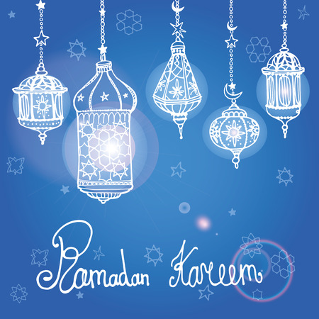 religion: Traditional lantern of Ramadan Kareem .Doodle greeting card .Holy month of muslim community.Hand drawig hanging arabic lamp, star and moon on blue background.Vector invitation