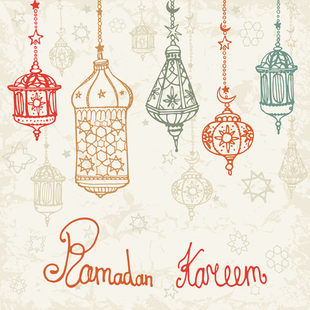 Traditional lantern of Ramadan Kareem .Doodle greeting card .Holy month of muslim community.Hand drawing hanging arabic lamp, star and moon on blue background.Vector