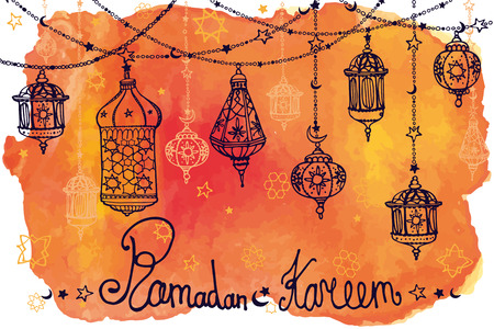 religion: Traditional lantern garland  of Ramadan Kareem .Doodle greeting card with Watercolororange splash.Muslim community.Hand drawing hanging arabic lamp, star and moon  background.Vector
