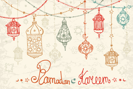 Traditional lantern garland of Ramadan Kareem .Doodle greeting card .Holy month of muslim community.Hand drawing hanging arabic lamp, star and moon on blue background.Horizontal Vector