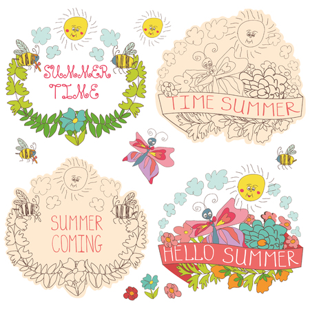 tender: Doodle floral  label  set with colored flowers, plants,ribbons,bees,sun,clouds  in baby hand drawing sketch style. Vintage vector Composition .Hello summer Illustration
