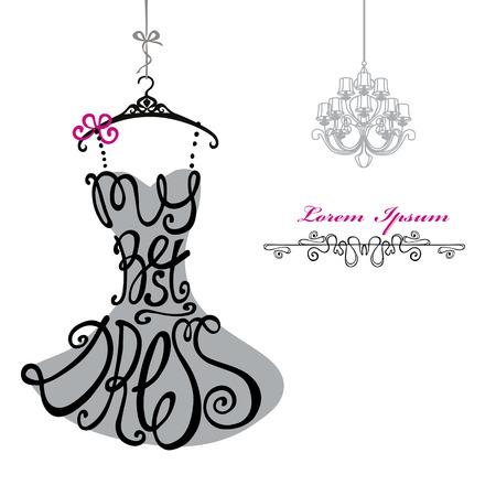 Typografie kleding Design.Silhouette van vrouw klassieke kleine jurk van woorden Mijn beste jurk met kroonluchter. Wervelende bochten font.Fashion Vector illustration.Design sjabloon, achtergrond