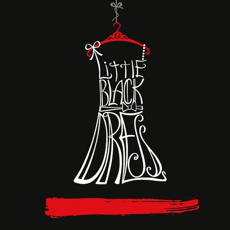 schematically: Typography Dress Design.Silhouette of woman classic little black dress from words. Swirling curves font.Black ,white and red.Fashion Vector illustration,background.