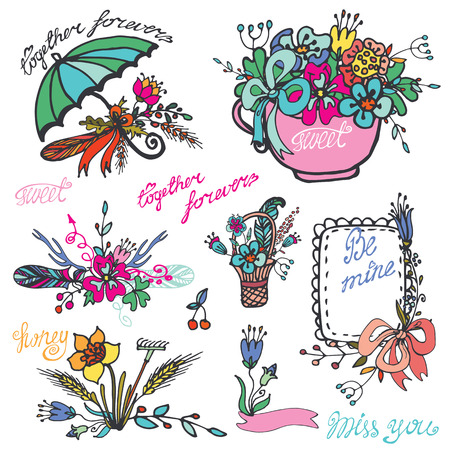 hand colored: Doodle floral wtreath set,Colored hand sketch vintage elements.For card,invitation,brushes.Cute Vector