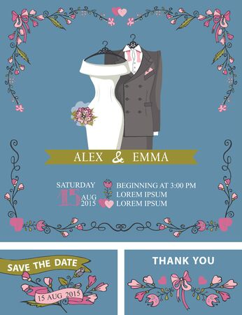 save the date: Retro wedding invitation set with floral frame decor. Cute cartoon flowers,wedding wear,bridal dress and male suit .Vector design template,save date,thank you card