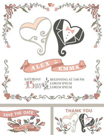 spring coat: Wedding invitation template set with floral  decor,coople hearts,ribbons.Cute cartoon stylized hearts in the clothes of the bride and groom .Vintage Vector design.Save date,thank you card.